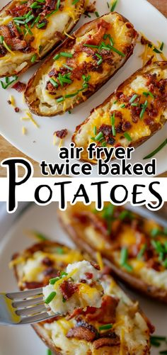 These easy air fryer twice baked potatoes are a creamy and cheesy side dish that is a perfect addition any meal. Hearty baked potatoes are filled with mashed potatoes, sour cream and cheese and topped with bacon and chives. Air Fryer Oven Recipes, Air Frier Recipes, Air Fryer Dinner Recipes, Recipes Dinner, Dessert Recipes, Easy Twice Baked Potatoes, Mashed Potatoes, Meals With Potatoes, Air Fry Potatoes