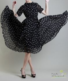 fair lady/women clothing/dress/long/chiffon/dots/custom made/S-XL/ Audrey Hepburn style. $95.00, via Etsy.