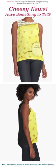 'Cheesy News: Have Something to Tell?' Sleeveless Top by We ~ Ivy Presents For Friends, To Tell, Tanks, Special Occasion, Contrast, Chiffon, Gift Ideas, Pullover, Hoodies