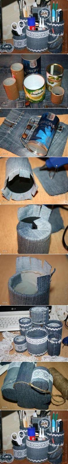 DIY Easy and Quick Organizer reciclando lata com jeans by Katy Clark