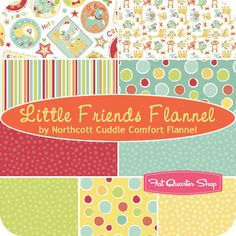 Little Friends Flannel Fat Quarter Bundle Northcott Cuddle Comfort Flannel for Northcott Fabrics - Fat Quarter Shop