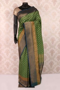 Bottle #green & antique #gold pure banarasi #silk mesmeric saree with…