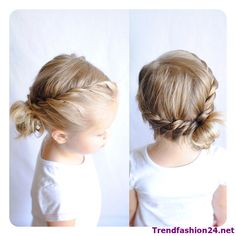 Two twists into a side messy bun Toddler Hairstyles Girl BUN Messy Side Twists Baby Girl Hairstyles, Pretty Hairstyles, Braided Hairstyles, Short Hairstyles For Kids, Hairstyles For Toddlers, Easy Toddler Hairstyles, Updos For Kids, Hair For Kids, Little Girl Wedding Hairstyles