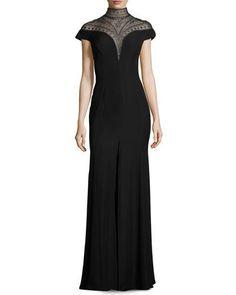 TD4L2 Tadashi Shoji Sleeveless Embellished Crepe Gown, Black