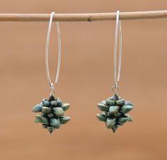 Pinecone beaded bead earrings