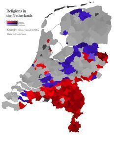 Religion in the Netherlands, by municipality [OC] x European Map, European History, Roman Empire Map, Semitic Languages, Religion, Old Maps, Historical Maps, City Maps, Holland