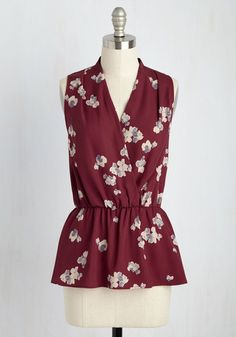 Great Gal in the Corner Office Sleeveless Top in Maroon Bloom. When the dress code of your workplace is anything but business as usual, this burgundy top - a ModCloth exclusive - will help you fit right in - and stand out, too! #red #modcloth