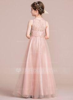 A-Line/Princess Scoop Neck Floor-Length Zipper Up Regular Straps Sleeveless No Other Colors General Tulle Junior Bridesmaid Dress