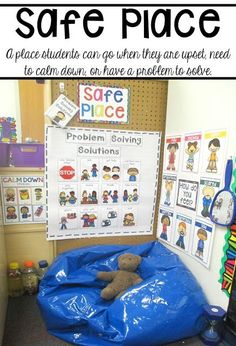 Problem Solving with Little Learners (preschool pre-k and kindergarten) - Child Support - Ideas of Child Support - Set up a safe place in your classroom with visual to support students social emotional needs. Perfect for early childhood. Classroom Behavior, Autism Classroom, New Classroom, Special Education Classroom, Classroom Setting, Classroom Environment, Early Education, Preschool Classroom Setup, Early Childhood Education