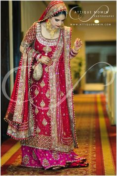 Dulhan Bride Pakistani Wedding- i would prefer long sleeves and have a different colored skirt (red and pink together is not my favorite combo). But it's a beautiful shirt and dupatta