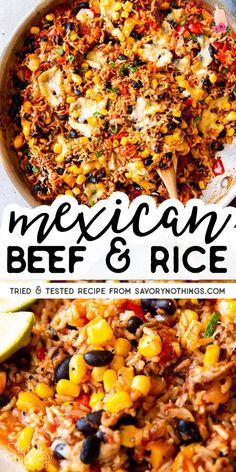 Ever ask yourself what to make with ground beef and rice? This Mexican Beef and Rice Skillet is your answer: An easy weeknight dinner, all cooked in one pot! Less dishes to wash is always a win recipes for dinner Super Easy Mexican Beef and Rice Skillet Ground Beef Recipes For Dinner, Dinner With Ground Beef, Healthy Dinner Recipes, Healthy Food, Ground Beef Dishes, Recipes With Rice And Ground Beef, Ground Beef Rice, Dinner Recipes With Rice, Easy Ground Beef Meals
