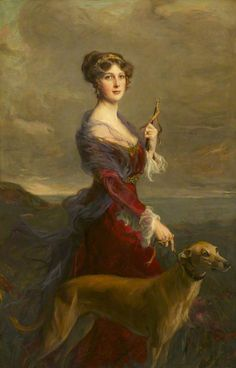 The Athenaeum - The Honourable Edith Helen Chaplin, Marchioness of Londonderry, with Her Favourite Greyhound (Philip Alexius de László - )