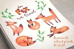 Foxes set by Kotozoid on @creativemarket