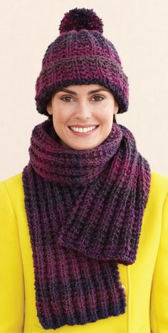 Rustic Ribbed Hat and Scarf - Free knitting pattern on Lion Brand website.