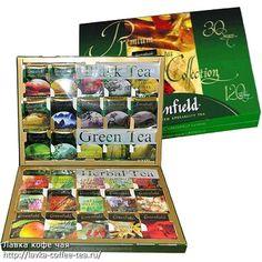 30 kinds of tea. In carton 120 foil envelopes TM Greenfield - this elite varieties of black, green, red, white teas and herbal drinks.