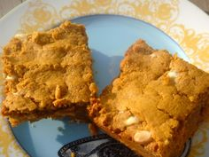 Pumpkin Peanut Butter Blondies. Nice peanut butter flavor, goes surprisingly well with the pumpkin, and the white chocolate chips add the perfect touch of sweetness.