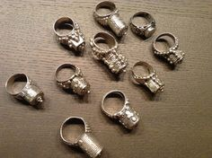 Ethiopian/Yemen?Eritrean, RashAida tower rings decorated with loads of grnaulate.  Antique, good silver 835/1000