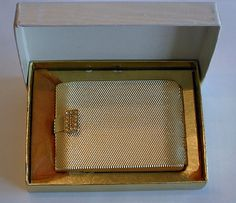 Vintage Max Factor Hollywood Regency Golden Weave Powder Compact, Measures 3 x 2-1/8 Inches.