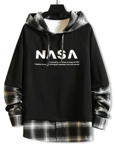 Hoodies and Sweatshirts For Men Online Funny Hoodies, Sweatshirts, Raglan, Online Shopping Stores, Black Hoodie, Aesthetic Clothes, Casual Outfits, Grunge Outfits, Plaid