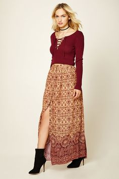 Forever 21 Contemporary - A woven maxi skirt featuring an allover baroque and floral print, a button-down front, a shirred waist design, and a flowy silhouette.