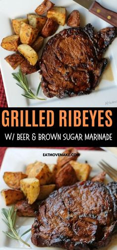 Grilled ribeye steaks with the most delicious beer and brown sugar marinade. It's a summer charcoal grilled steak recipe you'll want to make over and over! Ribeye Steak Marinade, Steak Marinade For Grilling, Bbq Steak, Ribs On Grill, Beer Marinade, Steak Marinades, Sirloin Steaks, Rib Eye Recipes, Meat Recipes