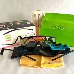 Bausch & Lombs answer to the Oakley craze of the late 1980s: The Goggs, made in France. Vintage Sunglasses, Full Set, Oakley, 1980s, Eyewear, Ray Bans, France, How To Make, Outfits