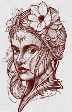 Tattoo Design Drawings, Ink Pen Drawings, Tattoo Sketches, Girl Face Tattoo, Girl Face Drawing, Poseidon Tattoo, Evil Tattoos, Tattoo Posters, Family Tattoo Designs
