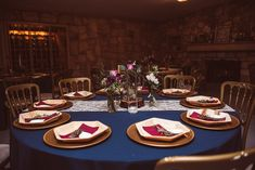 Navy Linen, Lace Runner, Maroon Napkin P. Wood Stumps, Gold Chargers, Lace Runner, Texas Hill Country, Tree Lighting, Twinkle Lights, Bud Vases, Light Photography, White Light