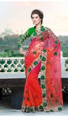 Orange Red & Green Net Designer Saree @ Rs.8,599