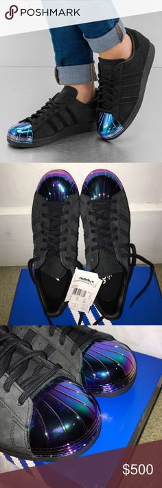 Holographic Adidas Brand new never worn rare superstar Adidas. Black suede with metal toe. Size says 8 but the front is tight so it'd fit a 7 or 7.5 best! NO TRADES. Adidas Shoes Sneakers