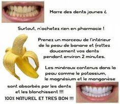 Marre des dents jaunes?? voila comment les blanchir avec l'intérieur de la peau de banane