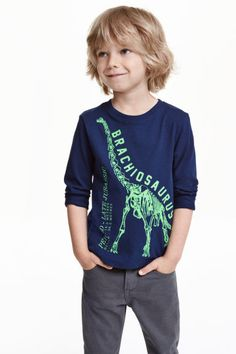 Long-sleeved T-shirt: Long-sleeved T-shirt in soft cotton jersey with a print motif on the front.