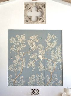 Velvet and Linen concealing the tv with Gracie Wallpaper