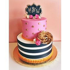 Pink and Orange Kate Spade Cake by 2tarts Bakery / www.2tarts.com