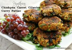 So good I made them 2 nights in a row! Vegetarian Chickpea Carrot Cilantro Curry Patty on Shockingly Delicious. Veggie Recipes, Whole Food Recipes, Vegetarian Recipes, Healthy Recipes, Cilantro, Food Club, Curry, Vegan Burgers, Secret Recipe