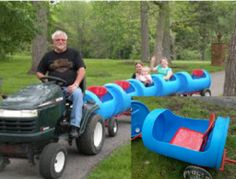 Wonderful DIY Choo Choo Train from Plastic Barrel is part of children Playground Train - What kid doesn't love Choo Choo train How much fun having the kids pulled behind the train ! Both of your kids and you will love making this Choo Choo Backyard Playground, Backyard For Kids, Backyard Games, Diy For Kids, Big Kids, Playground Ideas, 55 Gallon Plastic Drum, Plastic Drums, Barrel Train