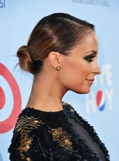 Medium hairstyles for fine hair.  The low bun updo works for thin hair.  Sleek with deep side part.