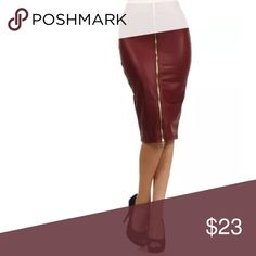 Burgundy Faux Leather Zipper High Waist Skirt WHAT'S NOT TO LOVE ABOUT THIS SEXY SKIRT THAT WILL BE SURE TO PLEASE?!  This skirt pratically defines HOT. Rock the leather look! High waist style and just below knee length pencil skirt with an exposed zipper up the front. Black matte color with just a bit of shine. Nice thick material - not cheap! Stretchy.   Made of 92% Polyester & 8% Spandex Skirts Pencil