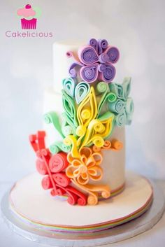 Colorful quilled cake