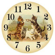 Pictures for decoupage. Cat Clock, Clock Art, Vintage Postcards, Vintage Images, Vintage Clocks, Clock Face Printable, Art Carte, Decoupage Paper, Cat Art