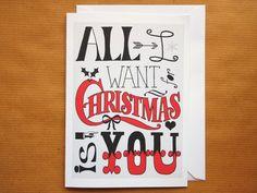 Christmas Card Boyfriend Girlfriend All I Want For by Cymraes, £2.00