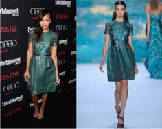 Revenge actress Ashley Madekwe partied into the wee hours of the morning with co-star Christa B . Allen at the Entertainment Weekly Screen Actors Guild Awards Pre-Party held at Chateau Marmont in Los Angeles last night.  The British-Nigerian actress looked dainty in a green short sleeve dress that hit...