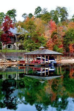 Dock reflection on a peaceful day at Lake Keowee, SC.  (photo taken at The Reserve at Lake Keowee)