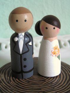 Cake Cuties- Custom Wedding Cake Toppers. $39.00, via Etsy.