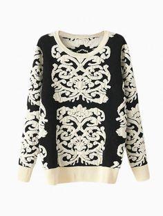 Black Knit Sweater With Flower Wisteria Print - Choies.com