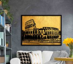 Excited to share the latest addition to my shop: Colosseum wall art, Printable living room decor, modern house art, Extra large print Gold Wall Art, Gold Art, Travel City, Gold Walls, House Art, City Architecture, Red Accents, Poster Wall, Large Prints