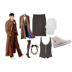 """10th Doctor (Femme)"" by beautifulposes on Polyvore  I WANT IT. But I would switch out the skirt for some pants :D"