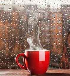 Fresh, hot coffee in a pretty mug on a gloomy day....ahhhh