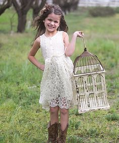 Sweet Charlotte Ivory Venice Lace Dress - Toddler | zulily