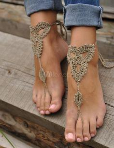 Boêmia concisa cinza Crochet sandálias descalças - Milanoo.com